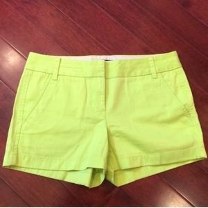 "J. Crew Neon Green 3"" Inseam Chino Shorts"